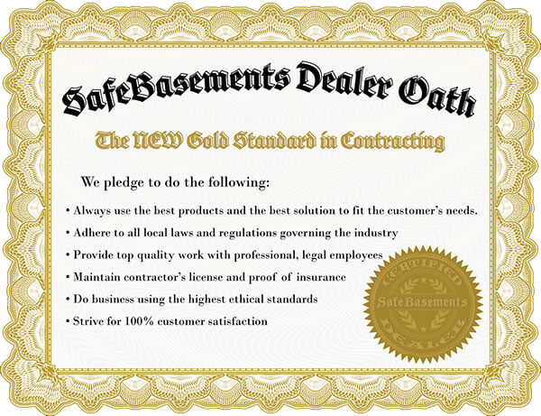 View the SafeBasementsTM Dealer Oath