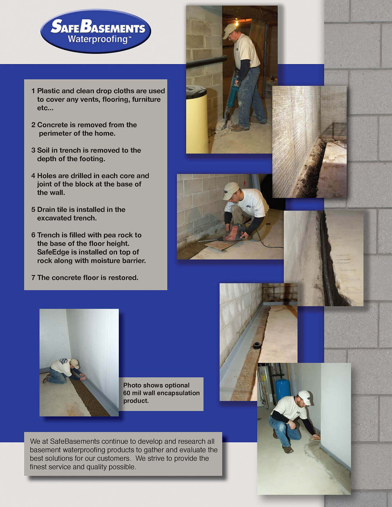 SafeEdge Waterproofing System Basement Drainage SafeBasements - Basement waterproofing products
