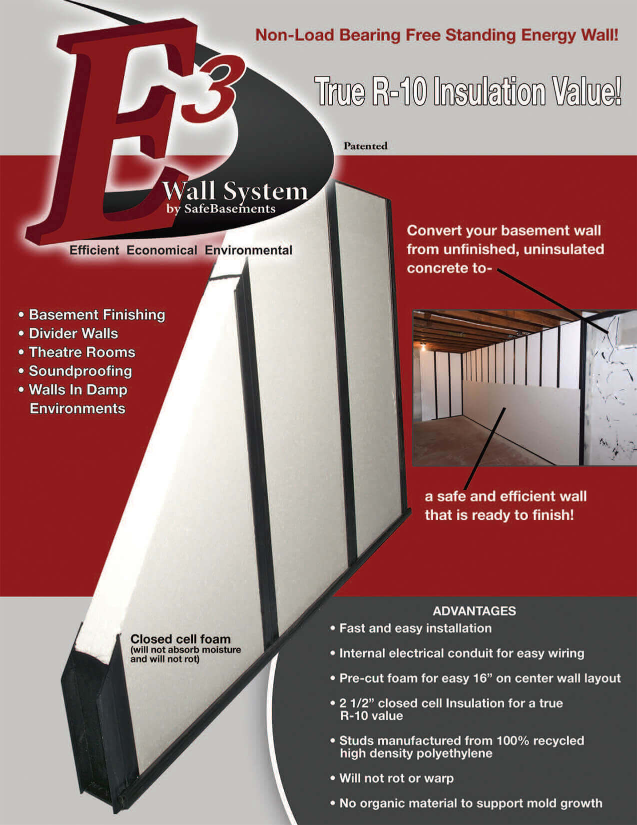 E3 Wall System Basement Finishing Safebasements Pre Wiring